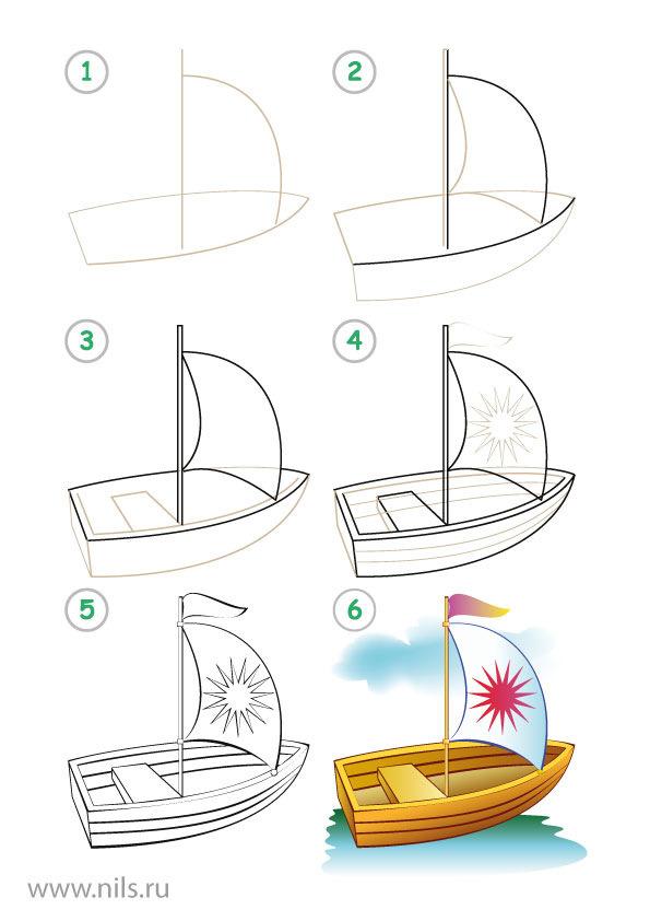 картинки лодок нарисованные
