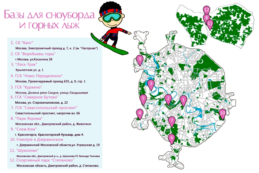 Горнолыжные и сноубордические базы Москвы и Подмосковья